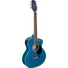 Westerngitarre, blau mit cutaway und Tonabnehmer
