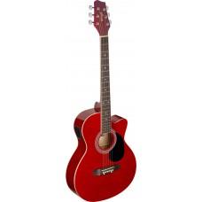 Westerngitarre, rot mit Tonabnhemer und Cutaway