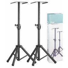 Zwei höhenverstellbare Monitor- oder Lichtstative mit einklappbaren Beinen