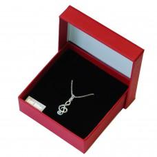 Notenschlüssel Anhänger mit Kette echt Silber in Geschenkbox